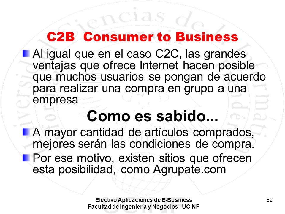 Electivo Aplicaciones de E-Business Facultad de Ingeniería y Negocios - UCINF 52 C2B Consumer to Business Al igual que en el caso C2C, las grandes ven
