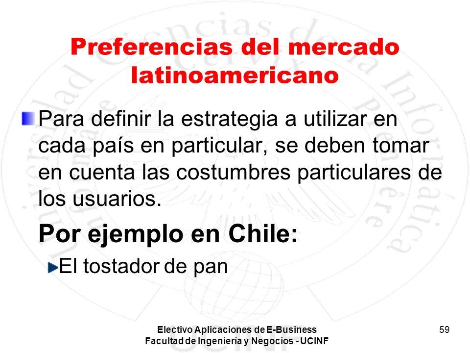 Electivo Aplicaciones de E-Business Facultad de Ingeniería y Negocios - UCINF 59 Preferencias del mercado latinoamericano Para definir la estrategia a