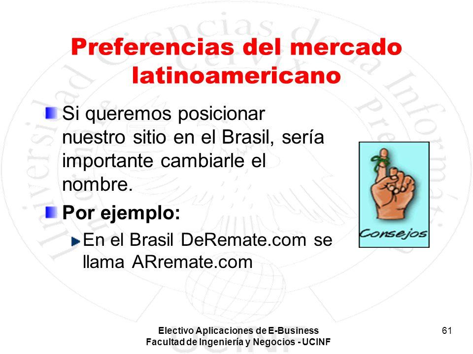 Electivo Aplicaciones de E-Business Facultad de Ingeniería y Negocios - UCINF 61 Preferencias del mercado latinoamericano Si queremos posicionar nuest