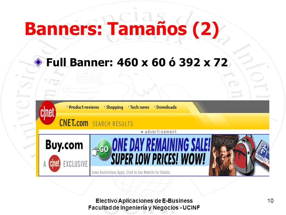 Electivo Aplicaciones de E-Business Facultad de Ingeniería y Negocios - UCINF 10 Banners: Tamaños (2) Full Banner: 460 x 60 ó 392 x 72
