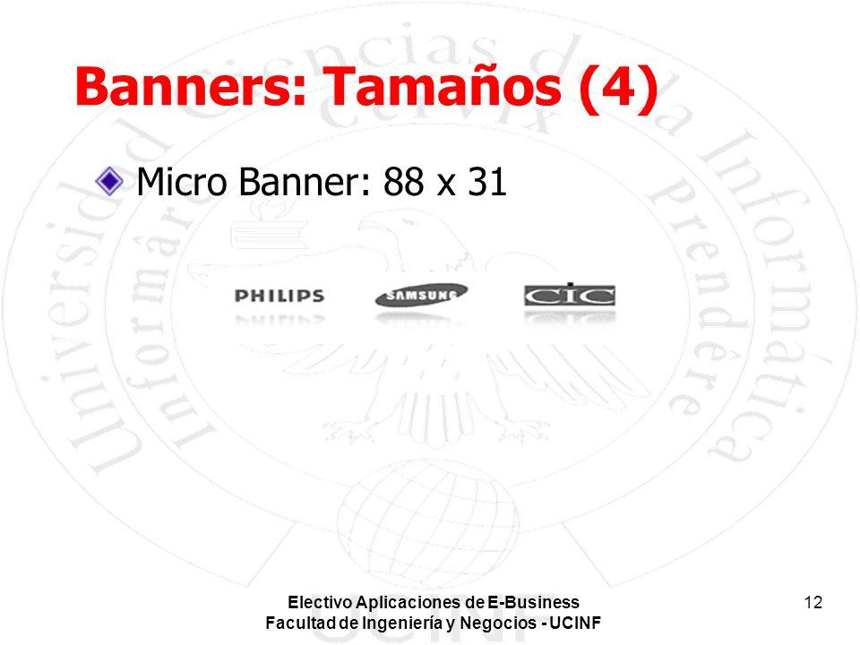 Electivo Aplicaciones de E-Business Facultad de Ingeniería y Negocios - UCINF 12 Banners: Tamaños (4) Micro Banner: 88 x 31