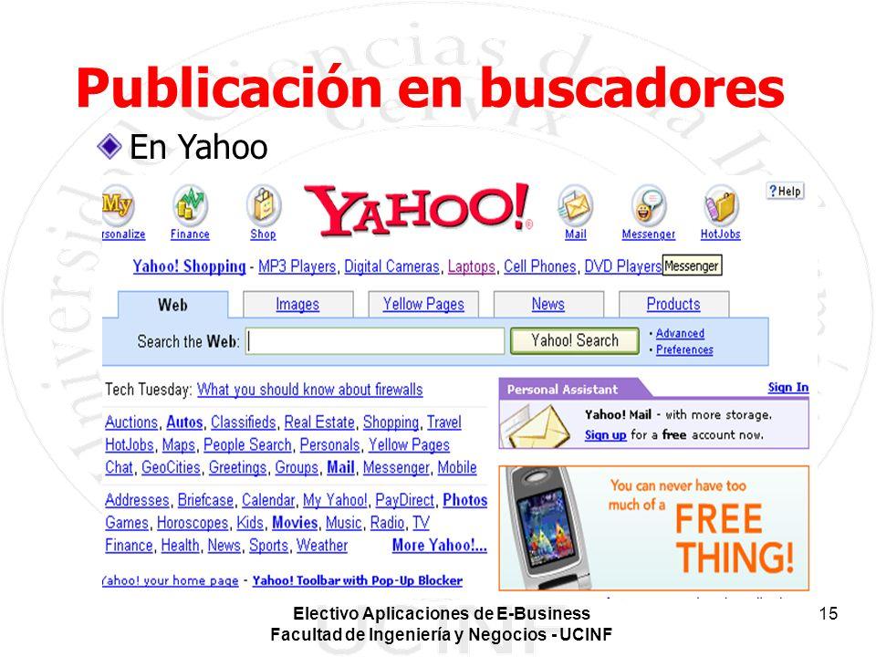 Electivo Aplicaciones de E-Business Facultad de Ingeniería y Negocios - UCINF 15 Publicación en buscadores En Yahoo