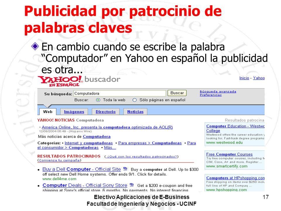 Electivo Aplicaciones de E-Business Facultad de Ingeniería y Negocios - UCINF 17 Publicidad por patrocinio de palabras claves En cambio cuando se escribe la palabra Computador en Yahoo en español la publicidad es otra...