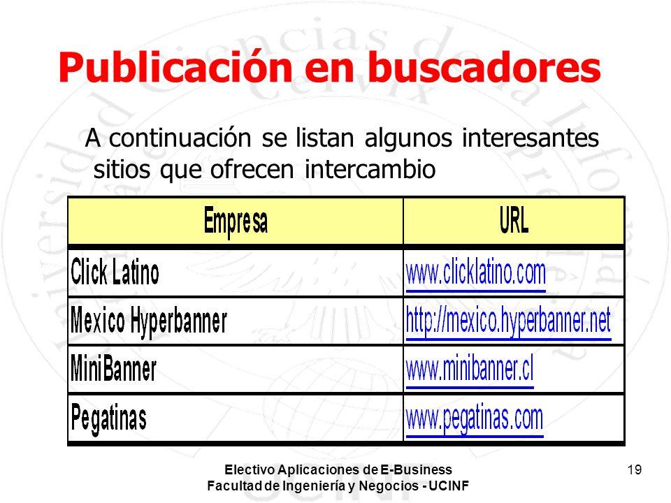 Electivo Aplicaciones de E-Business Facultad de Ingeniería y Negocios - UCINF 19 Publicación en buscadores A continuación se listan algunos interesant