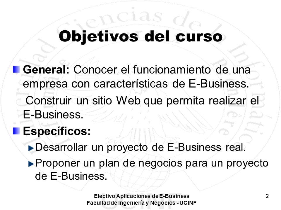 Electivo Aplicaciones de E-Business Facultad de Ingeniería y Negocios - UCINF 2 Objetivos del curso General: Conocer el funcionamiento de una empresa