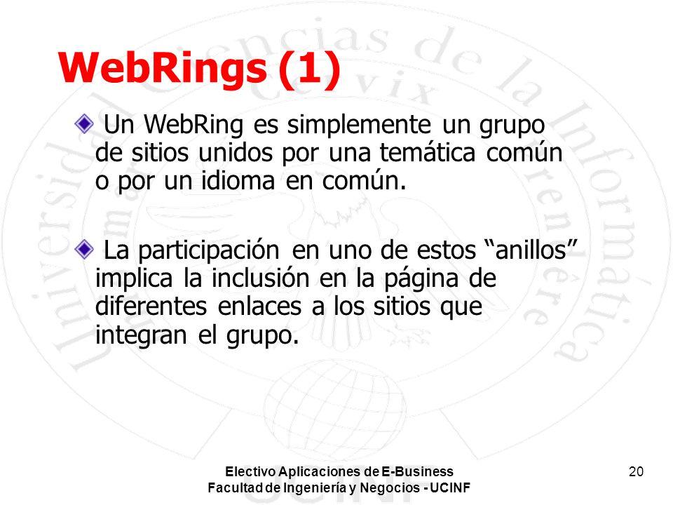 Electivo Aplicaciones de E-Business Facultad de Ingeniería y Negocios - UCINF 20 WebRings (1) Un WebRing es simplemente un grupo de sitios unidos por una temática común o por un idioma en común.