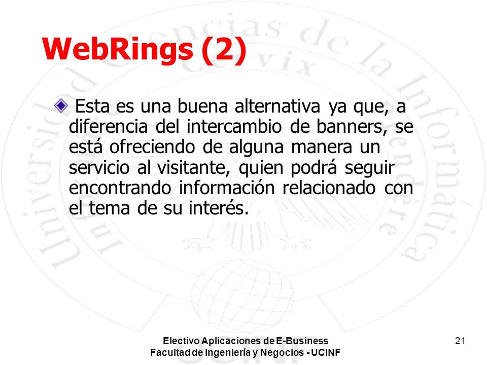 Electivo Aplicaciones de E-Business Facultad de Ingeniería y Negocios - UCINF 21 WebRings (2) Esta es una buena alternativa ya que, a diferencia del i