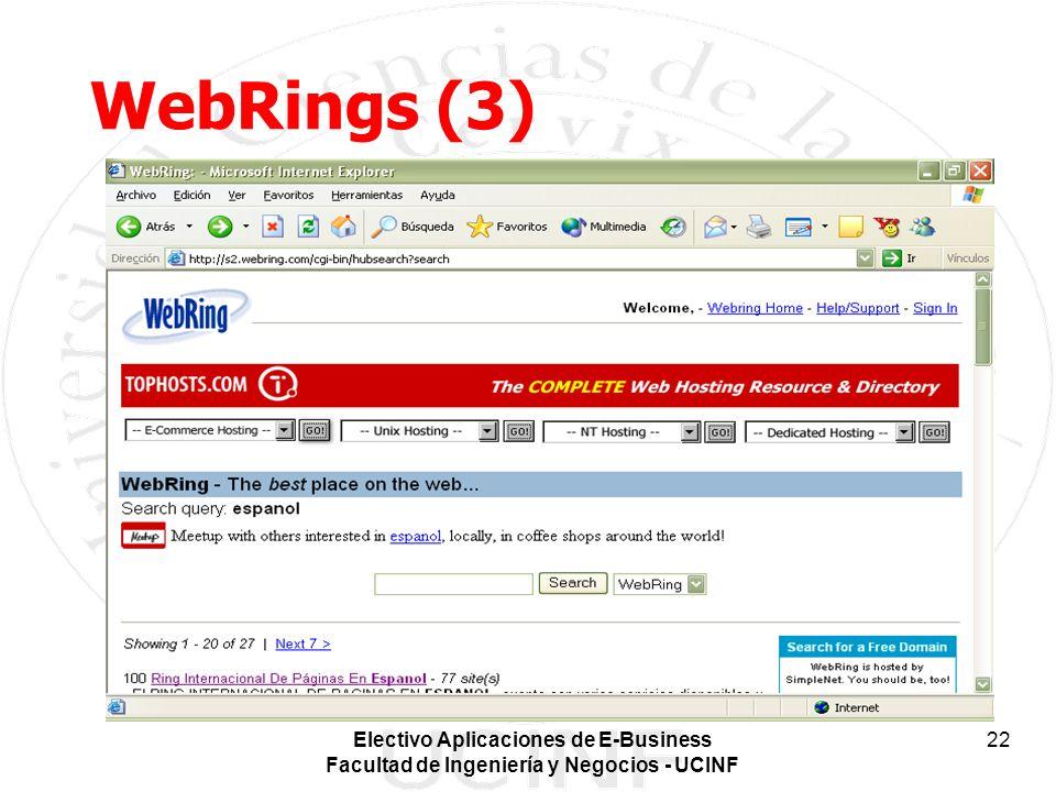 Electivo Aplicaciones de E-Business Facultad de Ingeniería y Negocios - UCINF 22 WebRings (3)
