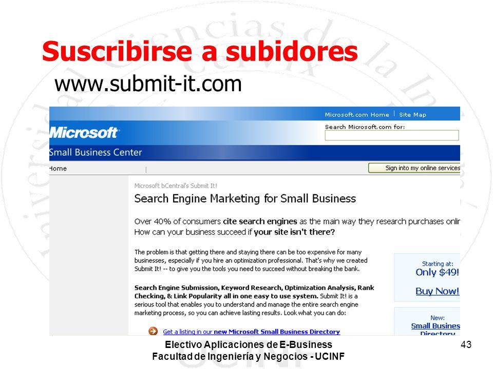 Electivo Aplicaciones de E-Business Facultad de Ingeniería y Negocios - UCINF 43 Suscribirse a subidores www.submit-it.com