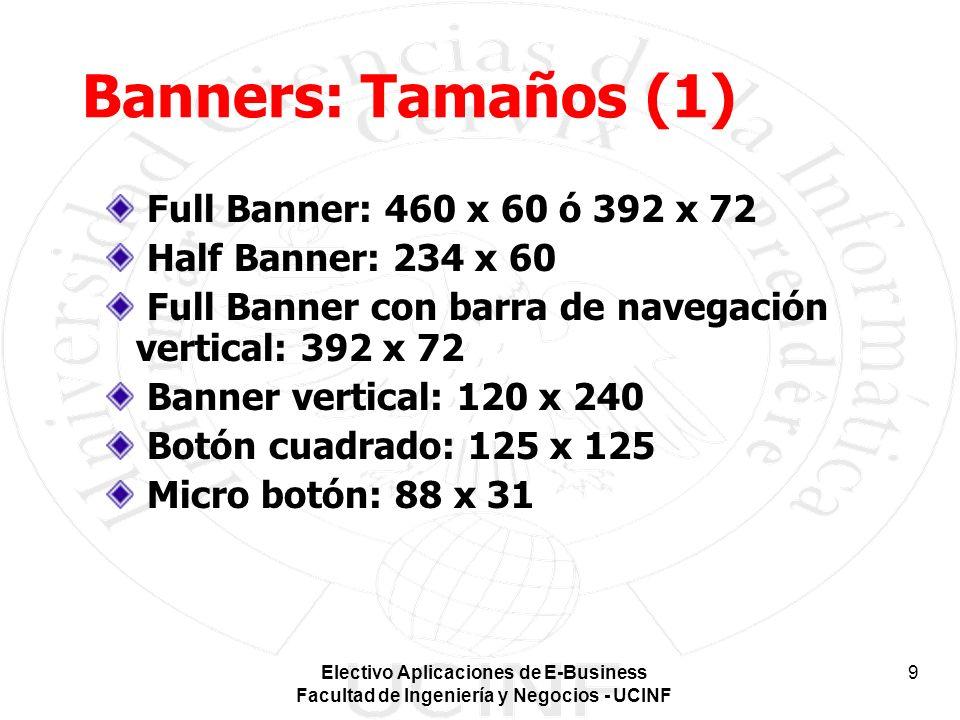 Electivo Aplicaciones de E-Business Facultad de Ingeniería y Negocios - UCINF 9 Banners: Tamaños (1) Full Banner: 460 x 60 ó 392 x 72 Half Banner: 234