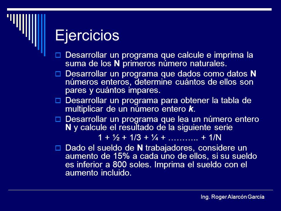 Ing. Roger Alarcón García Ejercicios Desarrollar un programa que calcule e imprima la suma de los N primeros número naturales. Desarrollar un programa