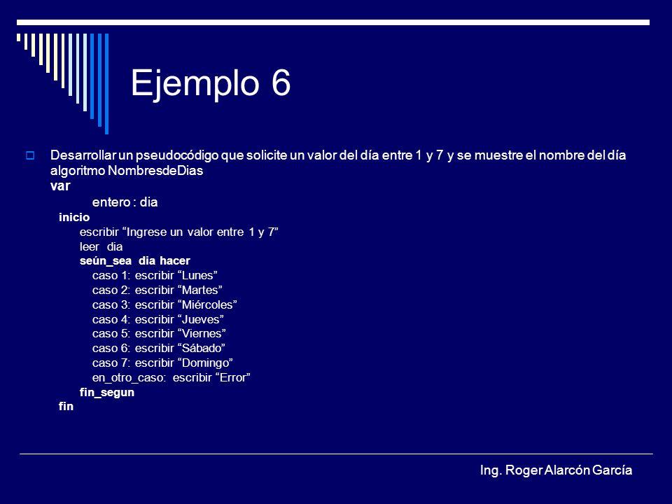 Ing. Roger Alarcón García Ejemplo 6 Desarrollar un pseudocódigo que solicite un valor del día entre 1 y 7 y se muestre el nombre del día algoritmo Nom