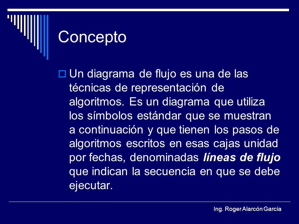 Ing. Roger Alarcón García Concepto Un diagrama de flujo es una de las técnicas de representación de algoritmos. Es un diagrama que utiliza los símbolo