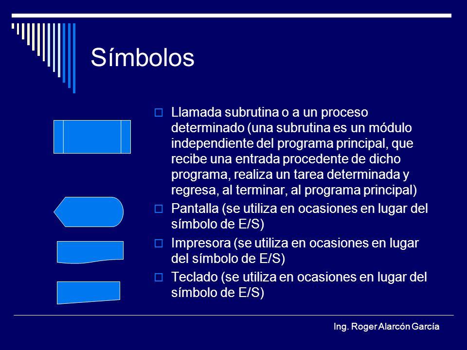 Ing. Roger Alarcón García Símbolos Llamada subrutina o a un proceso determinado (una subrutina es un módulo independiente del programa principal, que
