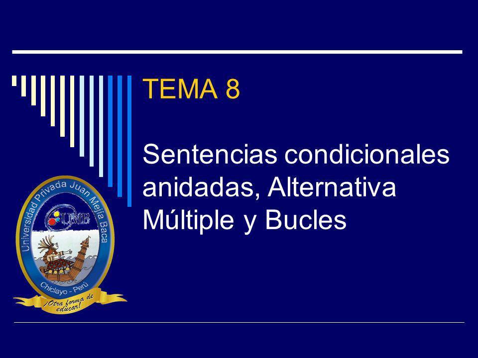 TEMA 8 Sentencias condicionales anidadas, Alternativa Múltiple y Bucles