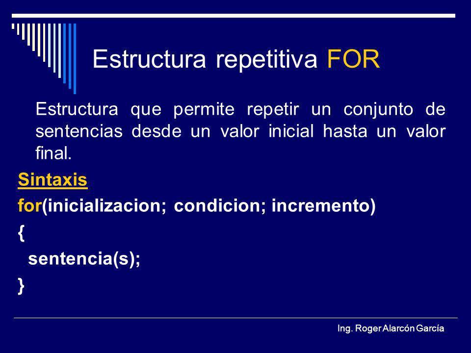 Ing. Roger Alarcón García Estructura repetitiva FOR Estructura que permite repetir un conjunto de sentencias desde un valor inicial hasta un valor fin