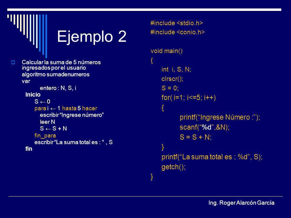 Ing. Roger Alarcón García Ejemplo 2 Calcular la suma de 5 números ingresados por el usuario algoritmo sumadenumeros var entero : N, S, i Inicio S 0 pa