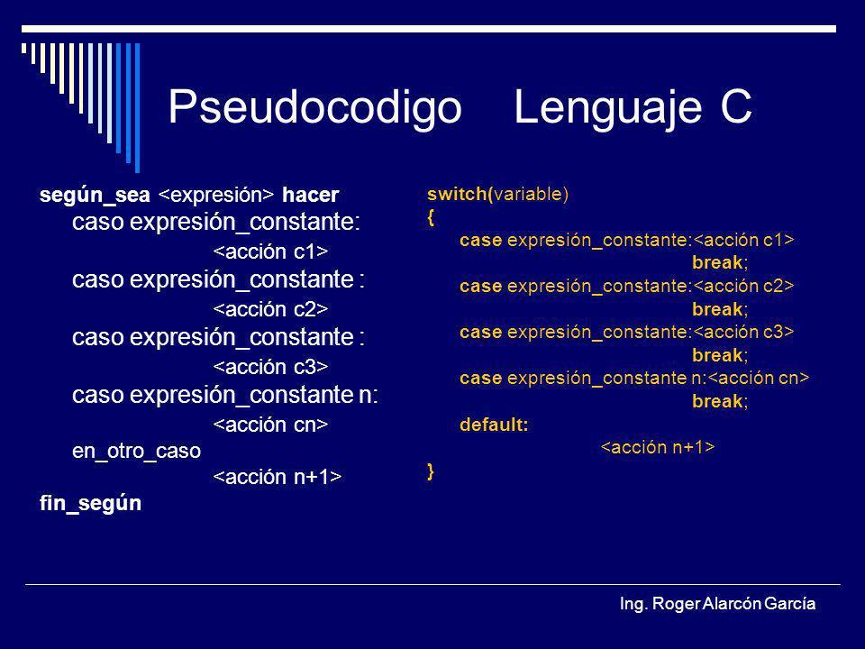 Ing. Roger Alarcón García PseudocodigoLenguaje C según_sea hacer caso expresión_constante: caso expresión_constante : caso expresión_constante : caso