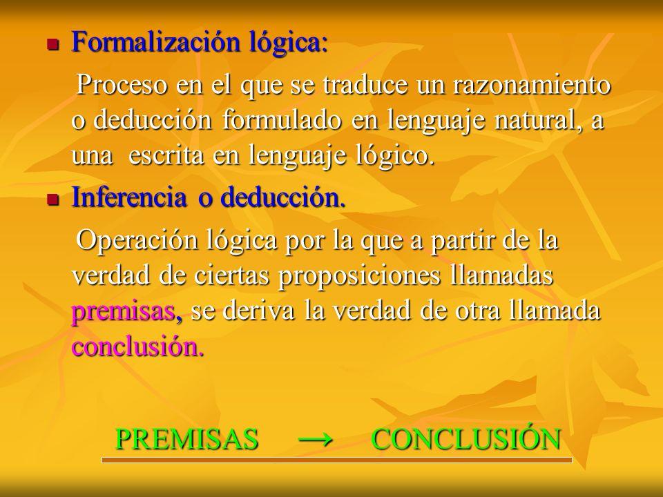 Formalización lógica: Formalización lógica: Proceso en el que se traduce un razonamiento o deducción formulado en lenguaje natural, a una escrita en l