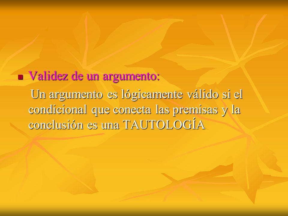 Validez de un argumento: Validez de un argumento: Un argumento es lógicamente válido si el condicional que conecta las premisas y la conclusión es una