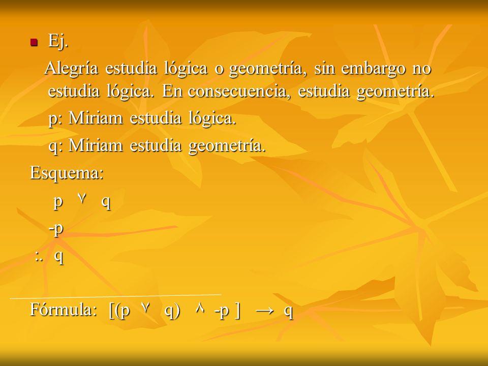 Ej. Ej. Alegría estudia lógica o geometría, sin embargo no estudia lógica. En consecuencia, estudia geometría. Alegría estudia lógica o geometría, sin