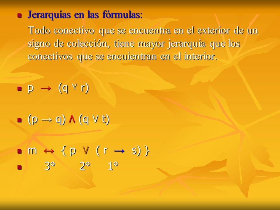 Jerarquías en las fórmulas: Jerarquías en las fórmulas: Todo conectivo que se encuentra en el exterior de un signo de colección, tiene mayor jerarquía