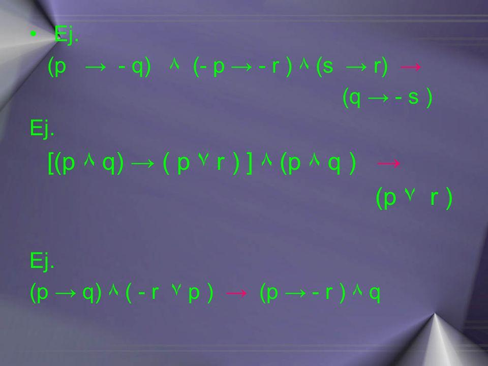 Ej. (p - q) ۸ (- p - r ) ۸ (s r) (q - s ) Ej. [(p ۸ q) ( p ۷ r ) ] ۸ (p ۸ q ) (p ۷ r ) Ej. (p q) ۸ ( - r ۷ p ) (p - r ) ۸ q