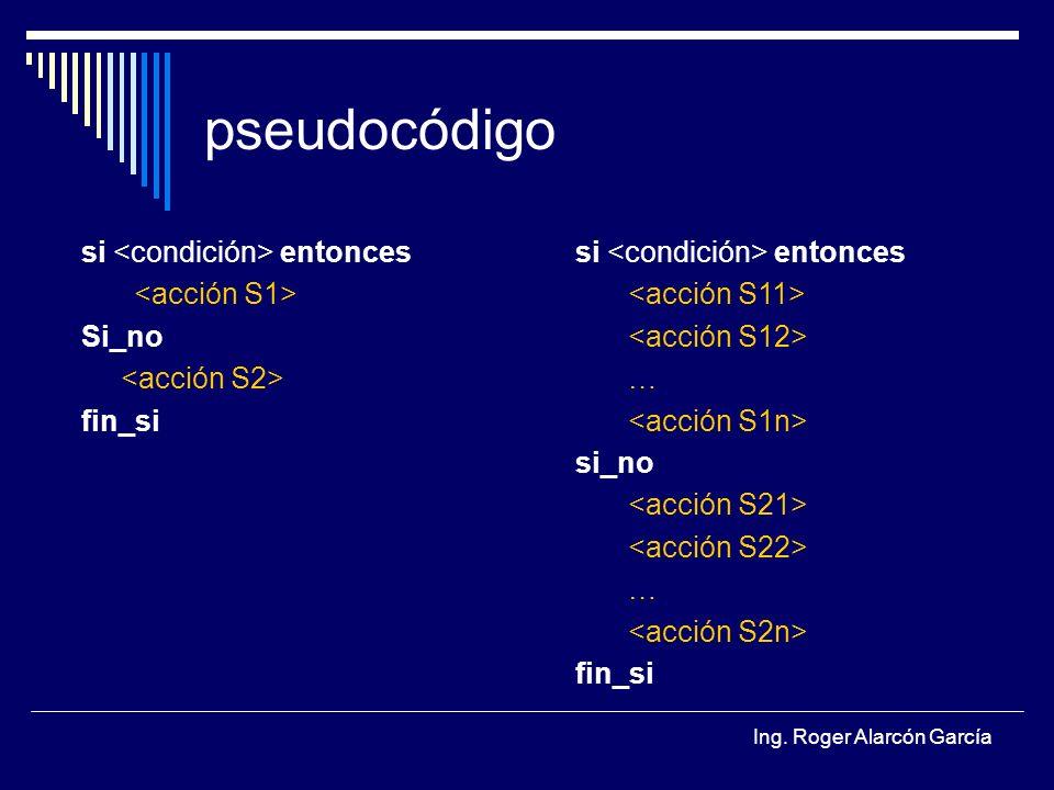Ing. Roger Alarcón García pseudocódigo si entonces Si_no fin_si si entonces … si_no … fin_si