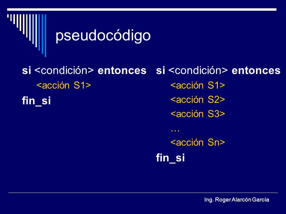Ing. Roger Alarcón García pseudocódigo si entonces fin_si si entonces … fin_si