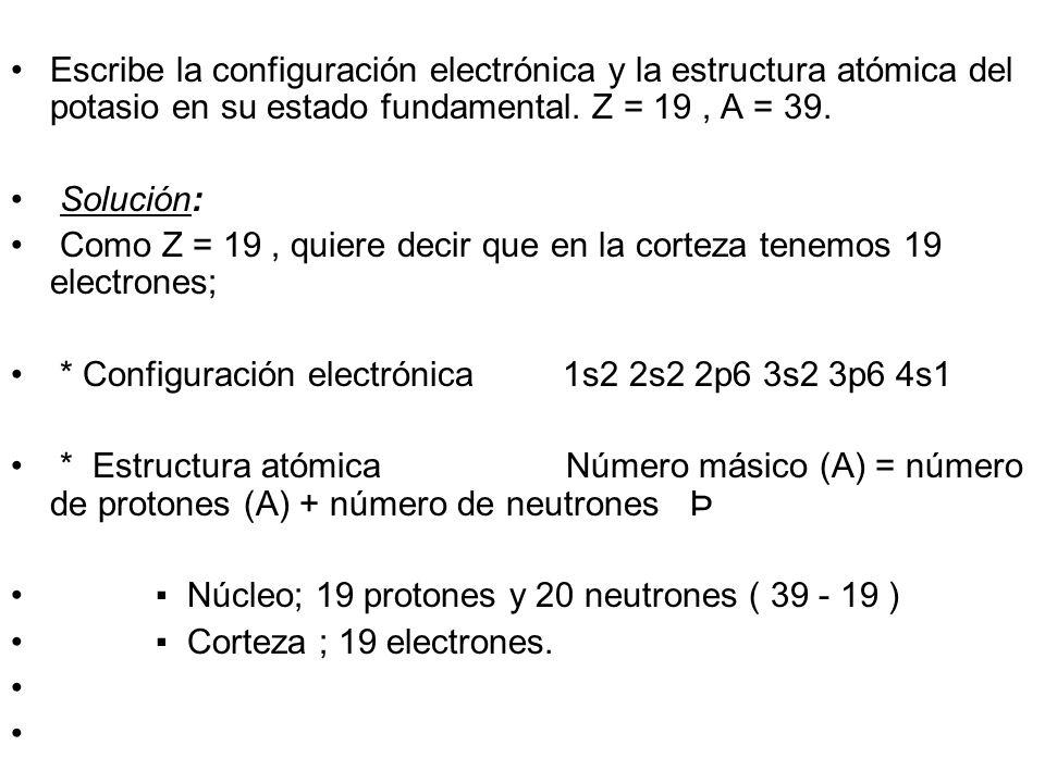 Configuración electrónica Configuración electrónica del 11 Na 1s 2 2s 2 2p 6 3s 1 Nivel de energía Subnivel de energía Número de electrones Número de