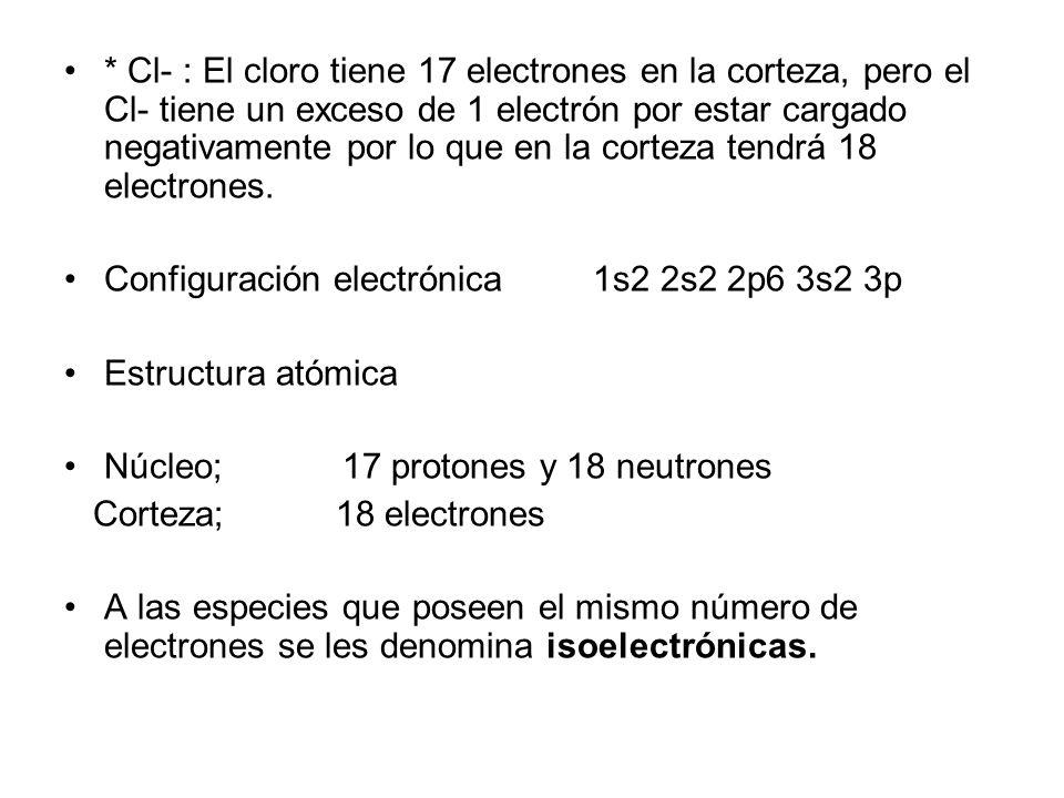 2.- Escribe la configuración electrónica y la estructura atómica de las especies siguientes, K+, Cl-. ( K ® Z = 19, A = 39 ), ( Cl ® Z = 17, A = 35 ).