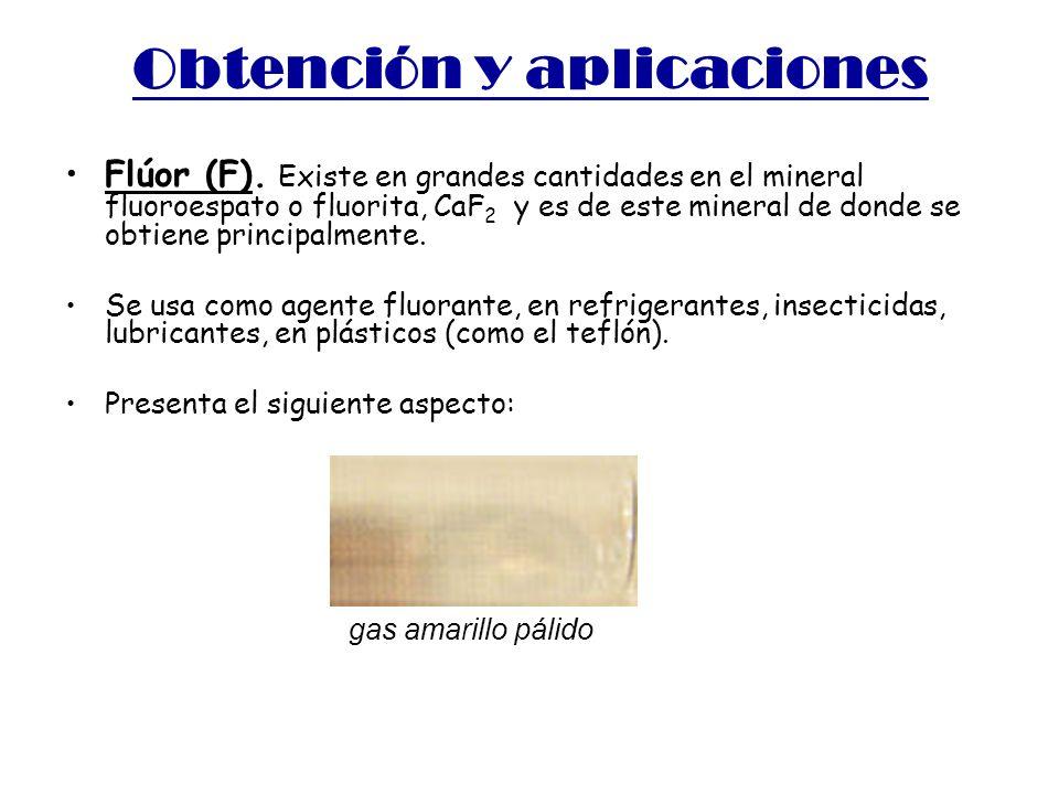 Obtención y aplicaciones Flúor (F). Existe en grandes cantidades en el mineral fluoroespato o fluorita, CaF 2 y es de este mineral de donde se obtiene