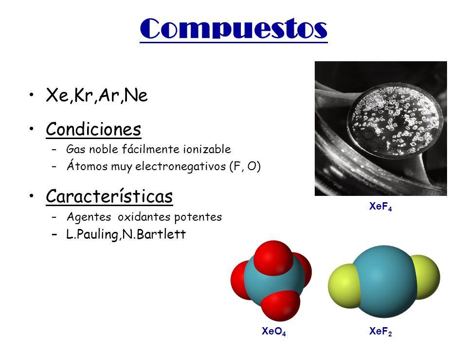 Compuestos Xe,Kr,Ar,Ne Condiciones –Gas noble fácilmente ionizable –Átomos muy electronegativos (F, O) Características –Agentes oxidantes potentes –L.