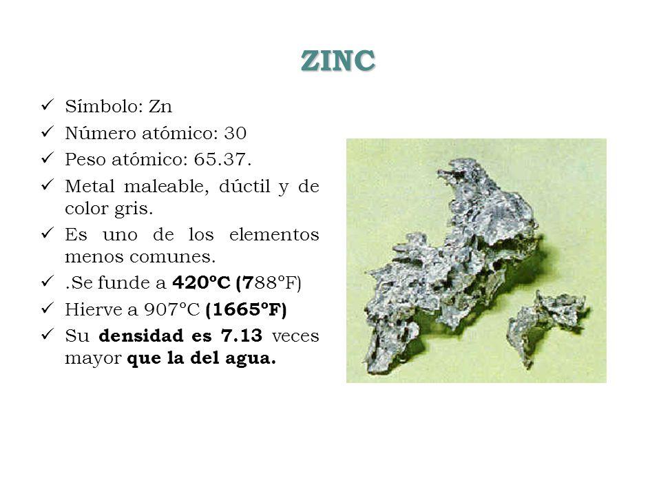ZINC Símbolo: Zn Número atómico: 30 Peso atómico: 65.37. Metal maleable, dúctil y de color gris. Es uno de los elementos menos comunes..Se funde a 420