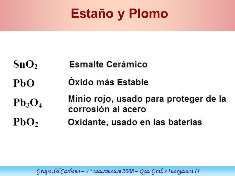 Grupo del Carbono – 2° cuatrimestre 2008 – Qca, Gral. e Inorgánica II Estaño y Plomo