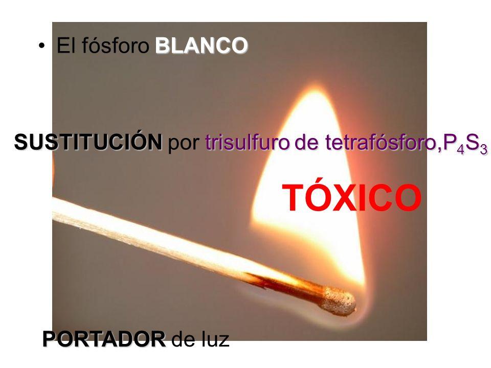 TÓXICO SUSTITUCIÓNtrisulfuro de tetrafósforo,P 4 S 3 SUSTITUCIÓN por trisulfuro de tetrafósforo,P 4 S 3 PORTADOR PORTADOR de luz BLANCOEl fósforo BLAN