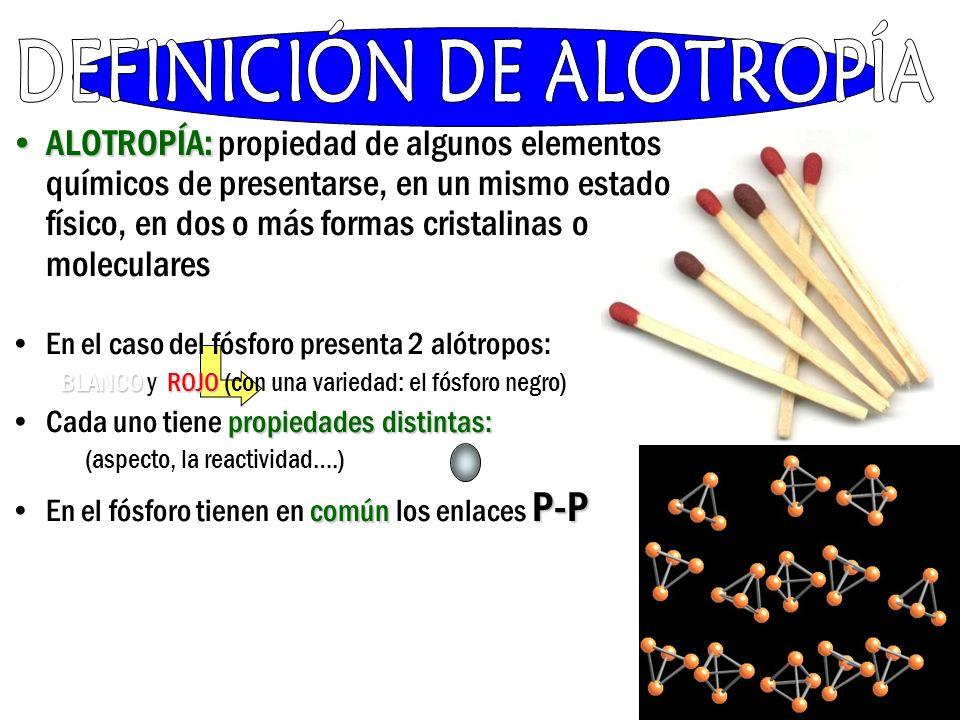 ALOTROPÍA:ALOTROPÍA: propiedad de algunos elementos químicos de presentarse, en un mismo estado físico, en dos o más formas cristalinas o moleculares