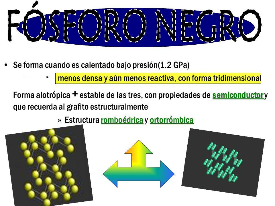 Se forma cuando es calentado bajo presión(1.2 GPa) menos densa y aún menos reactiva, con forma tridimensional Forma alotrópica + estable de las tres,