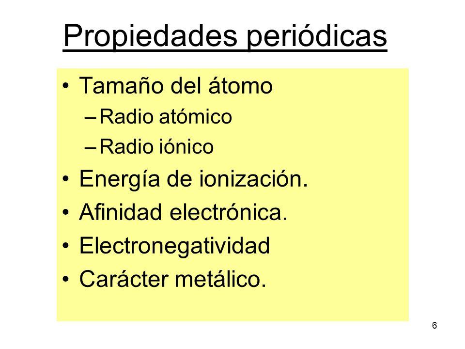 6 Propiedades periódicas Tamaño del átomo –Radio atómico –Radio iónico Energía de ionización. Afinidad electrónica. Electronegatividad Carácter metáli