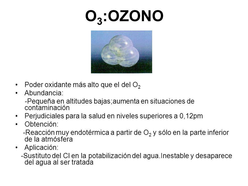O 3 :OZONO Poder oxidante más alto que el del O 2 Abundancia: -Pequeña en altitudes bajas;aumenta en situaciones de contaminación Perjudiciales para l