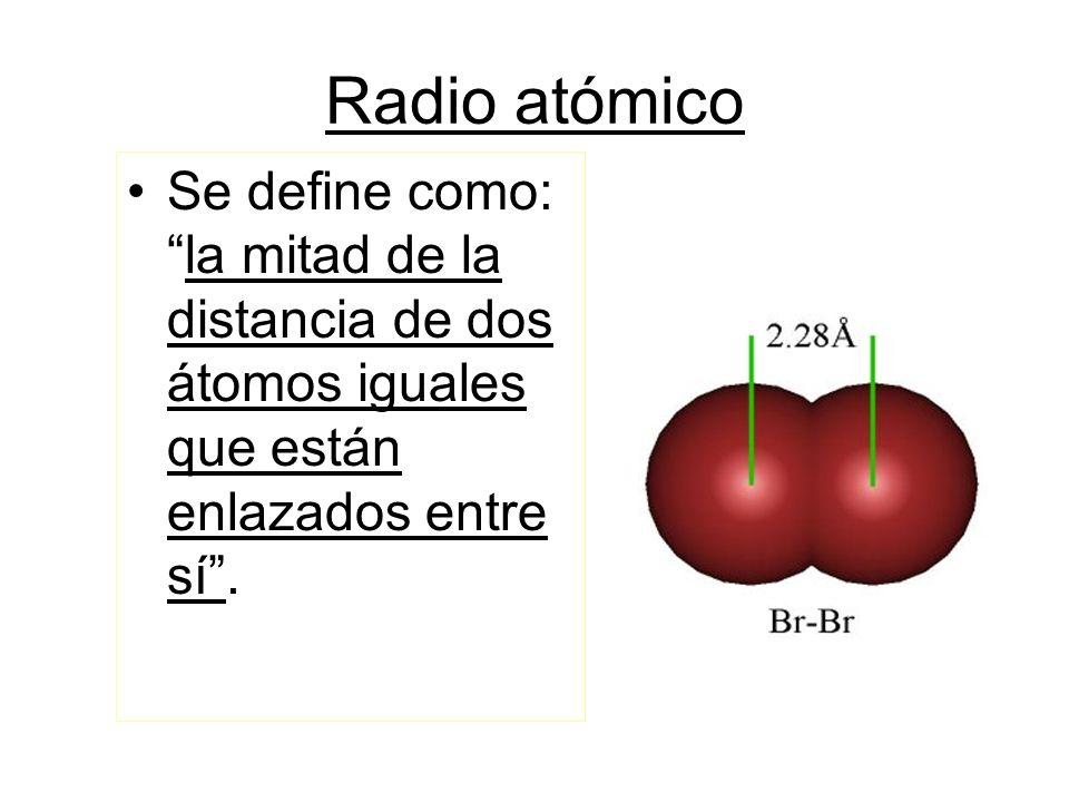 Radio atómico Se define como:la mitad de la distancia de dos átomos iguales que están enlazados entre sí.