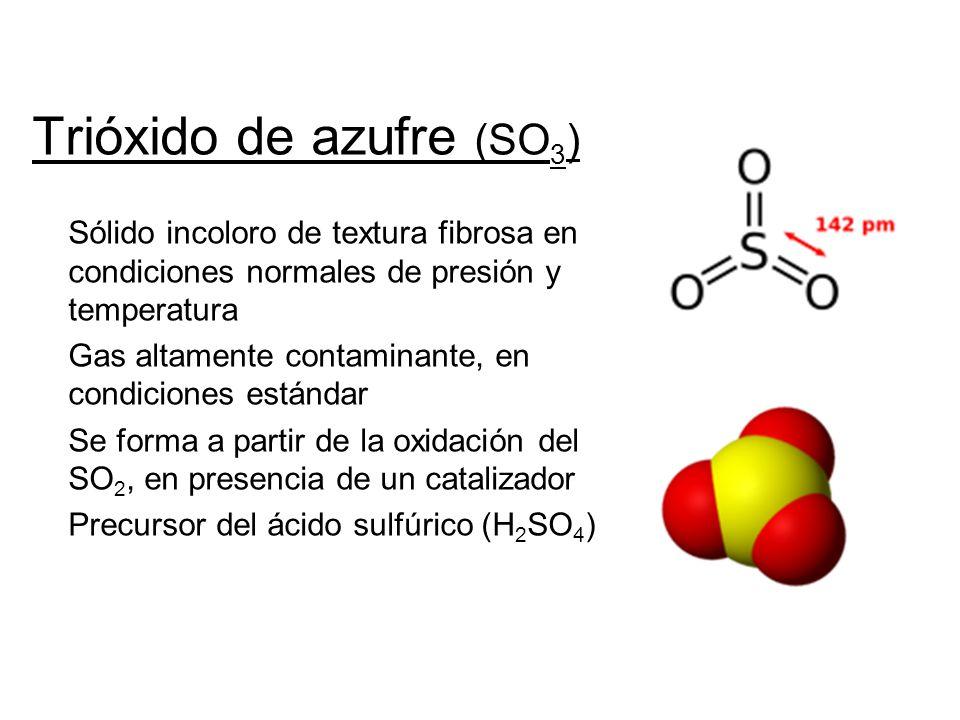 Trióxido de azufre (SO 3 ) Sólido incoloro de textura fibrosa en condiciones normales de presión y temperatura Gas altamente contaminante, en condicio