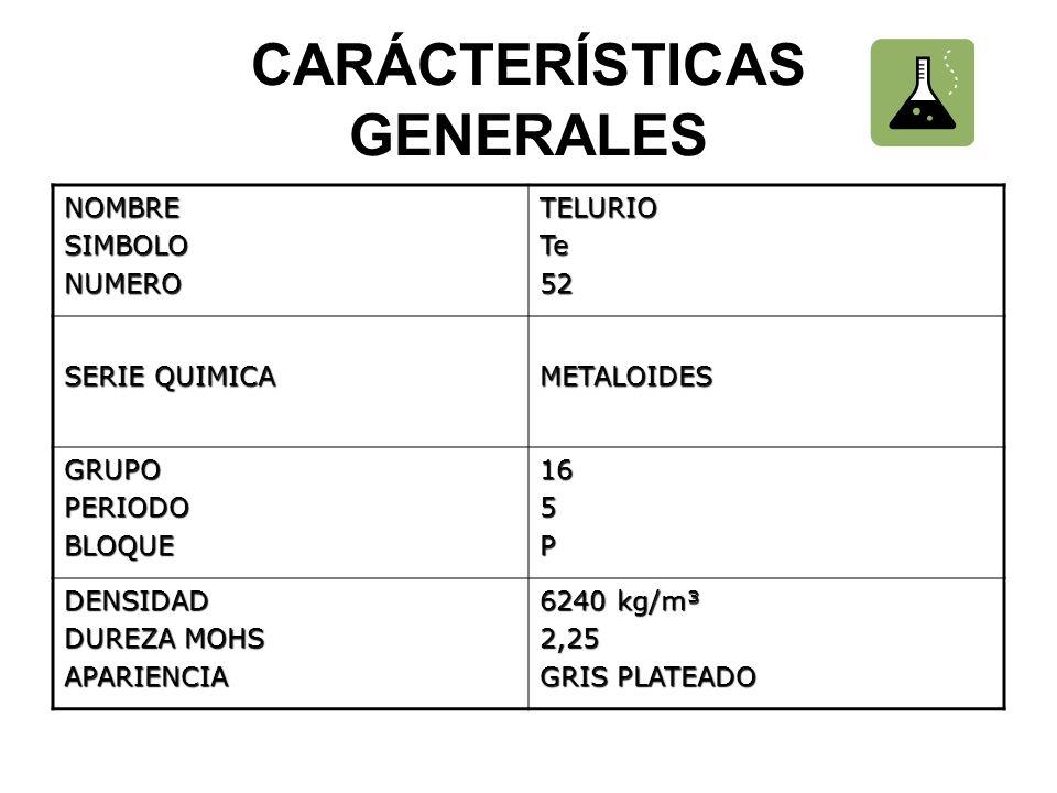 CARÁCTERÍSTICAS GENERALES NOMBRESIMBOLONUMEROTELURIOTe52 SERIE QUIMICA METALOIDES GRUPOPERIODOBLOQUE165P DENSIDAD DUREZA MOHS APARIENCIA 6240 kg/m³ 2,