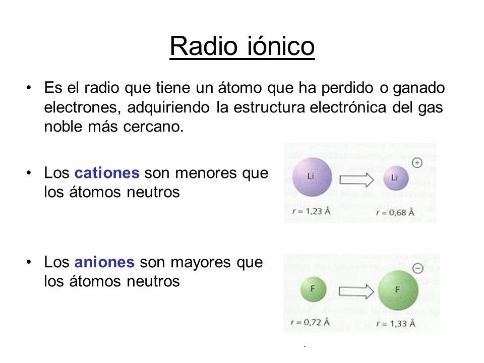 Radio iónico Es el radio que tiene un átomo que ha perdido o ganado electrones, adquiriendo la estructura electrónica del gas noble más cercano. Los c