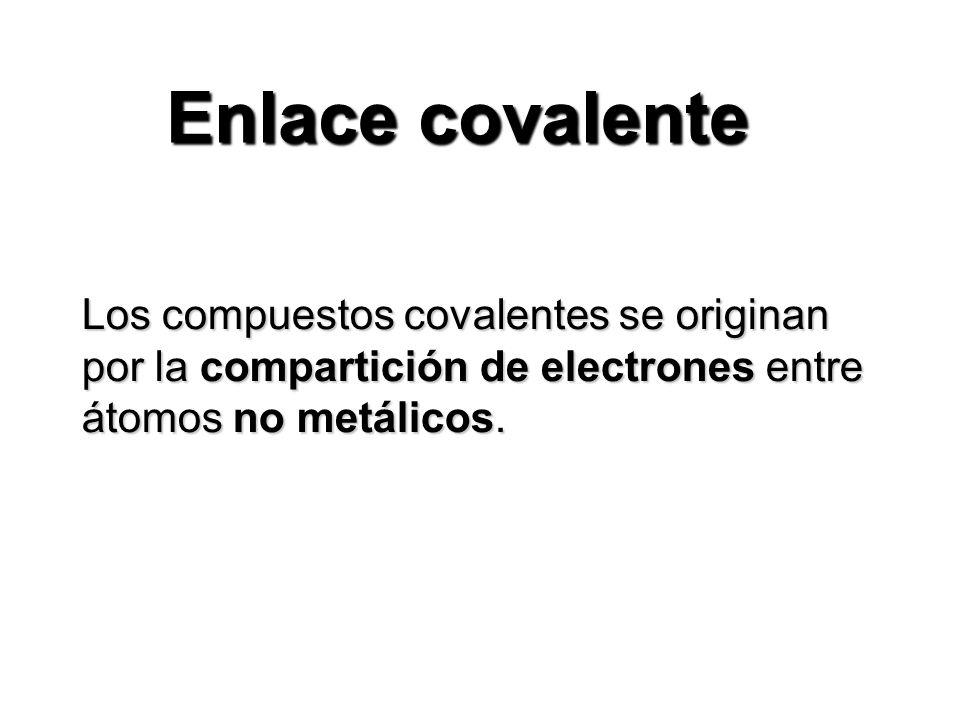 Enlace covalente Los compuestos covalentes se originan por la compartición de electrones entre átomos no metálicos.