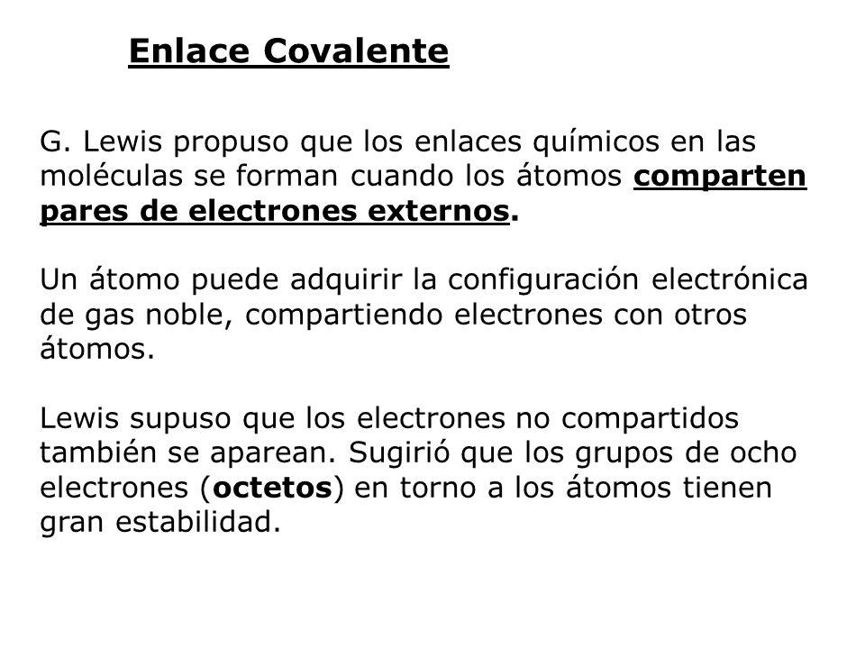 Enlace Covalente G. Lewis propuso que los enlaces químicos en las moléculas se forman cuando los átomos comparten pares de electrones externos. Un áto