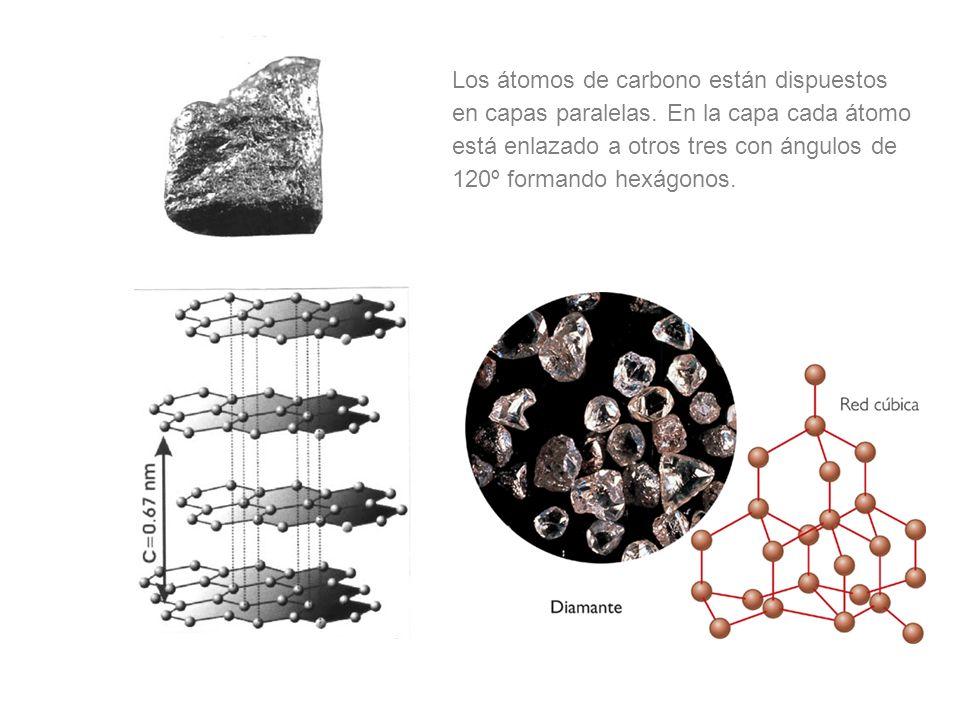 Los átomos de carbono están dispuestos en capas paralelas. En la capa cada átomo está enlazado a otros tres con ángulos de 120º formando hexágonos.
