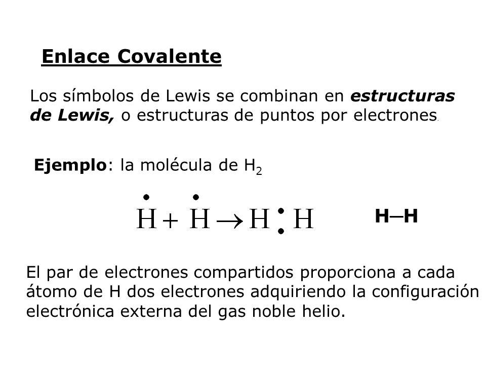 Los símbolos de Lewis se combinan en estructuras de Lewis, o estructuras de puntos por electrones. Ejemplo: la molécula de H 2 H El par de electrones