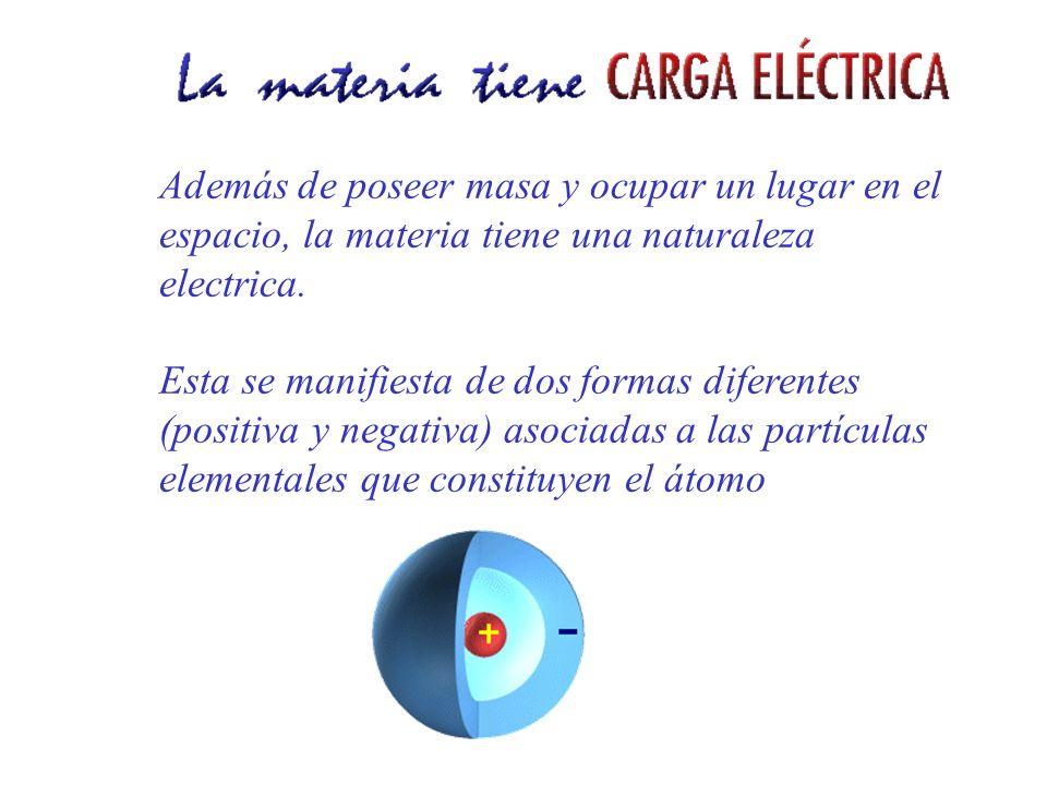 Además de poseer masa y ocupar un lugar en el espacio, la materia tiene una naturaleza electrica. Esta se manifiesta de dos formas diferentes (positiv