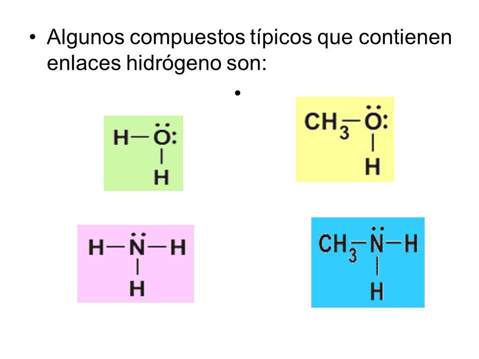 Algunos compuestos típicos que contienen enlaces hidrógeno son: